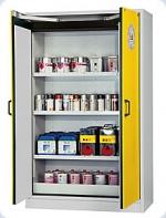 Bezpečnostní skříň s křídlovými dveřmi s požární odolností 15 minut, barva: světle šedá RAL 7035, dveře signální žlutá RAL 1004